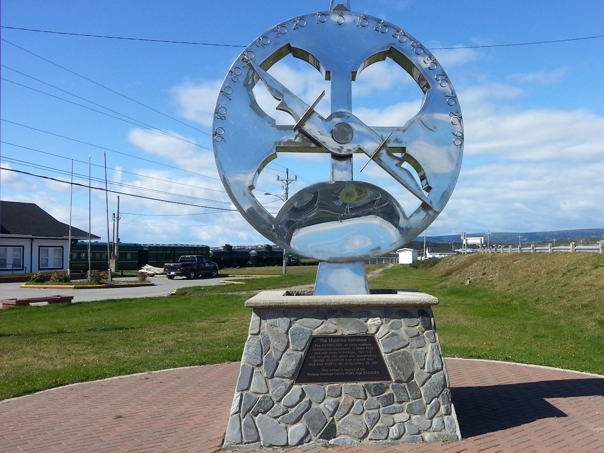 Mushrow Astrolabes Monument, Railway Heritage Centre, Port aux Basques, Newfoundland