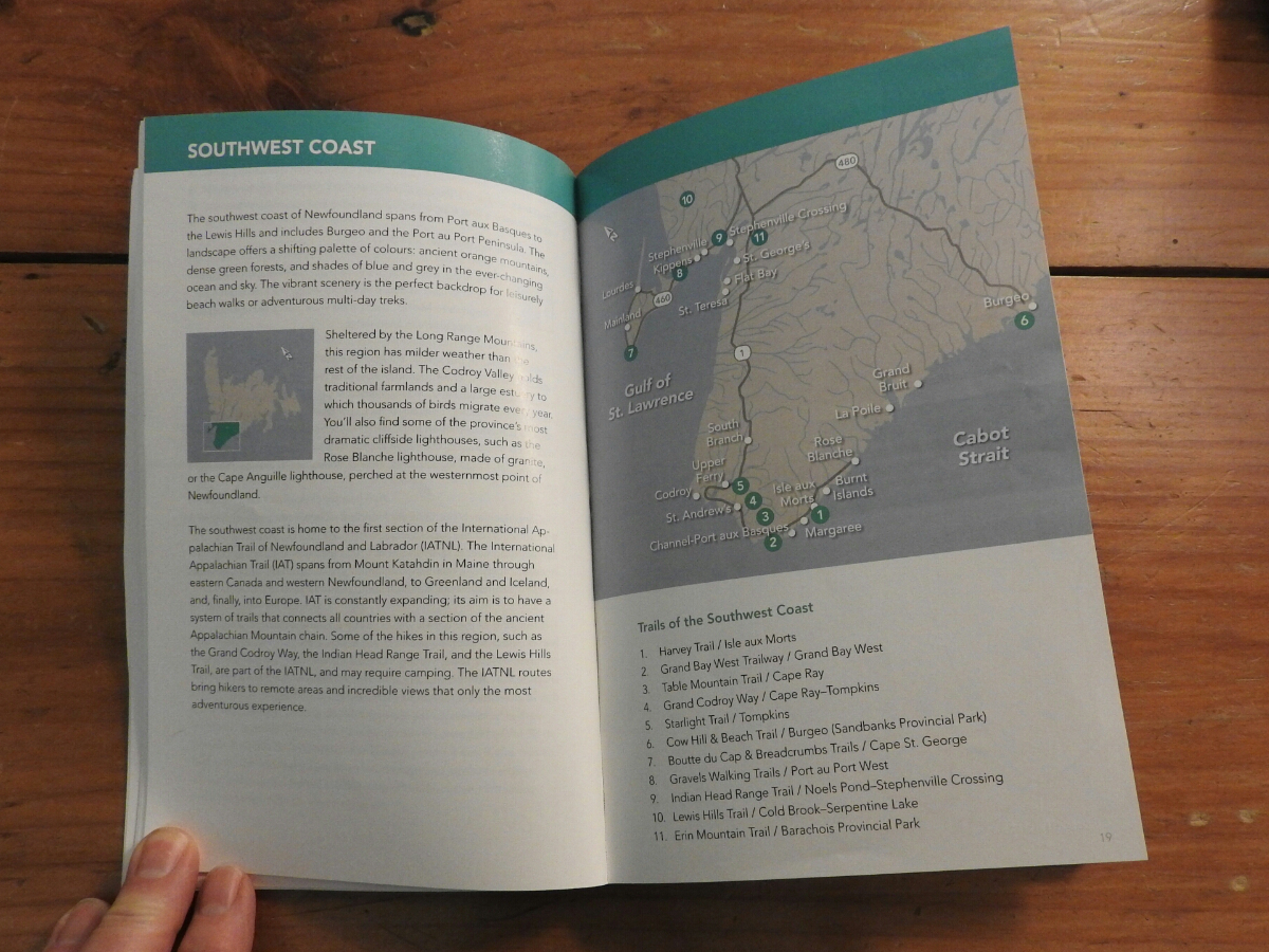 Hikes of Western Newfoundland, area maps